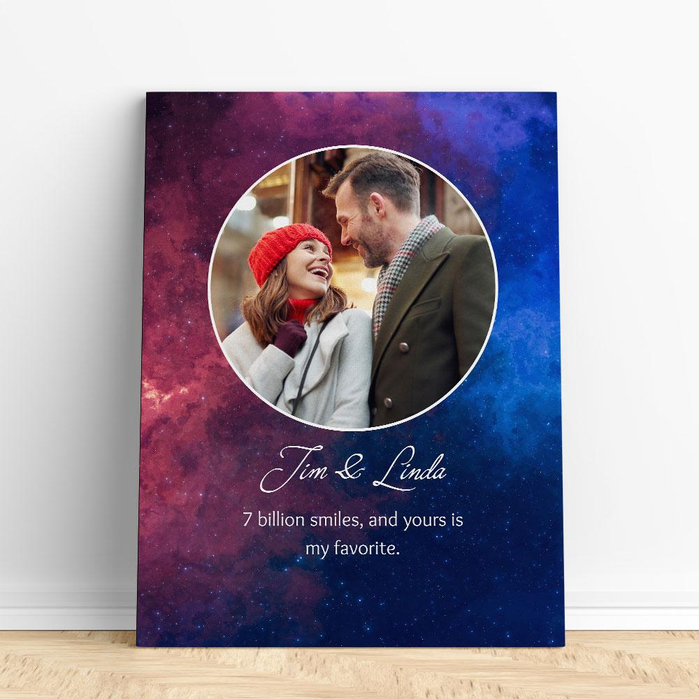 Customized Romantic Canvas - 7 billion smiles Canvas Wall Art 2 teelaunch