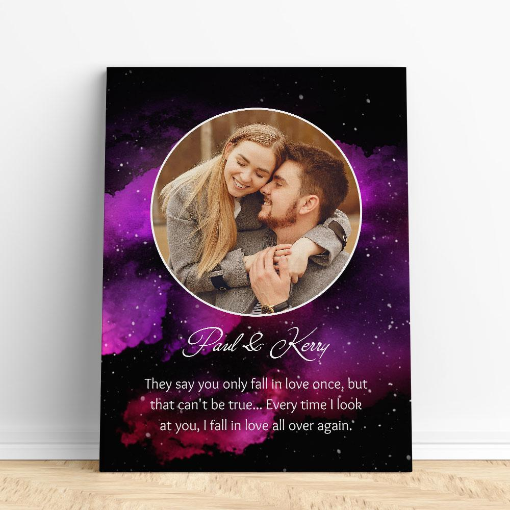 Customized Romantic Canvas - Fall in love once Canvas Wall Art 2 teelaunch