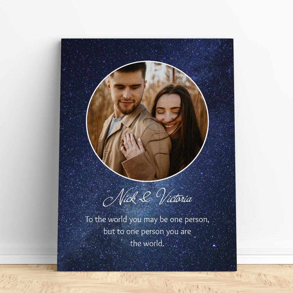 Customized Romantic Canvas - You are the world Canvas Wall Art 2 teelaunch