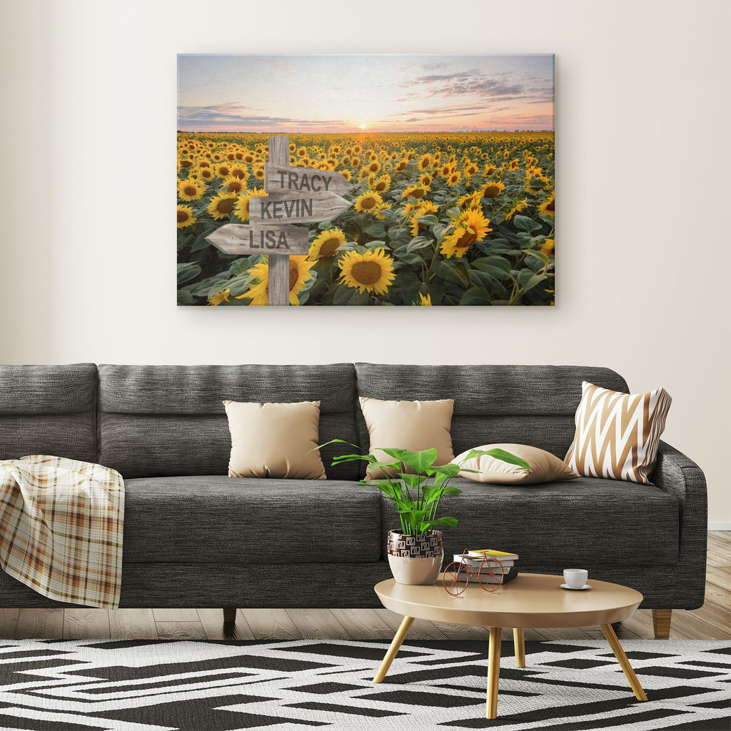 Customized Sunflower Field Canvas Canvas Wall Art 3 teelaunch