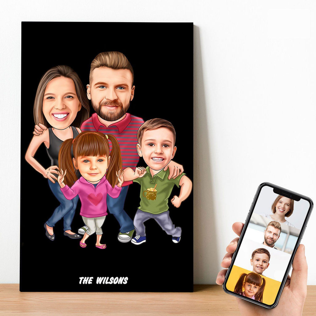 Personalized 4 people Family Cartoon Wooden Wall Art ( With 2 Children ) Wooden Wall Art Custom Fairy