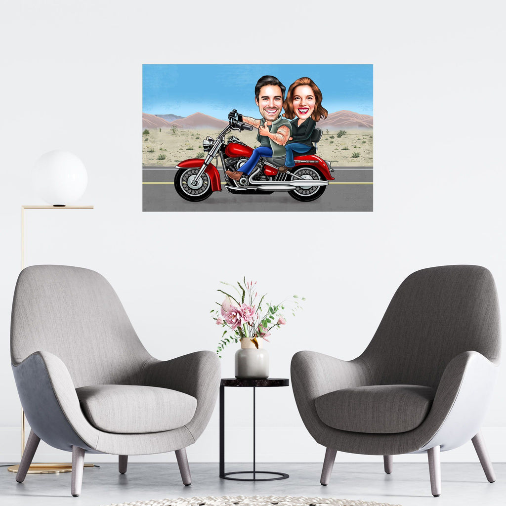Personalized Caricature Biker Couple Wooden Wall Art 1 Custom Fairy
