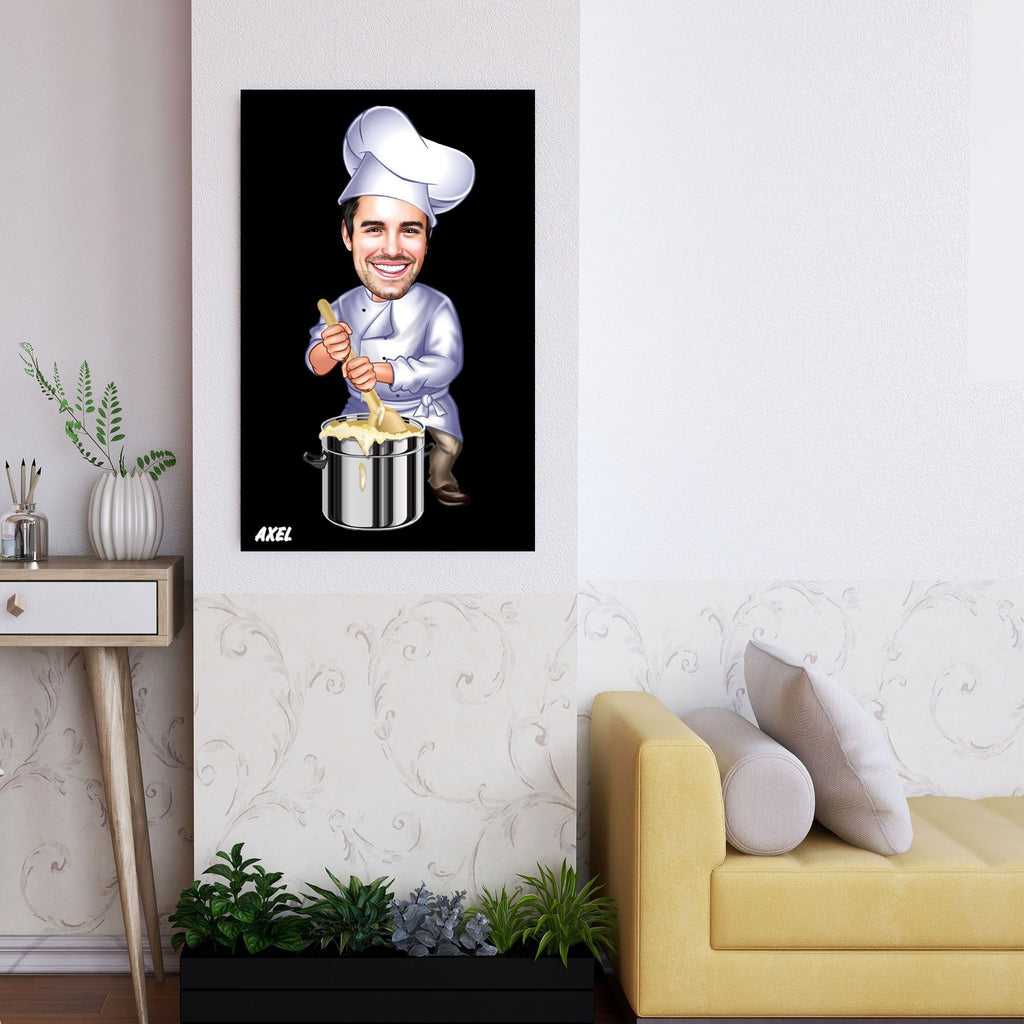 Personalized Caricature Chef Wooden Wall Art 3 Custom Fairy