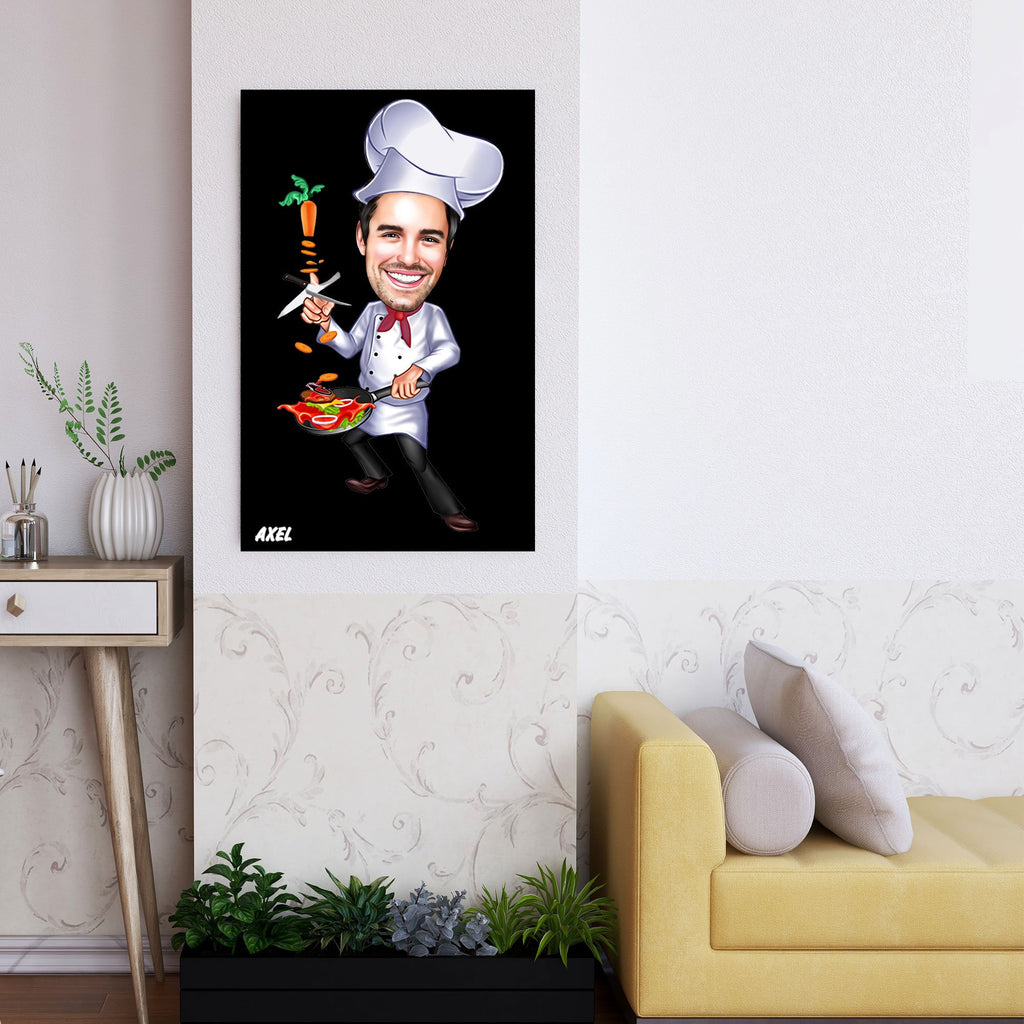 Personalized Caricature Chef Wooden Wall Art Custom Fairy