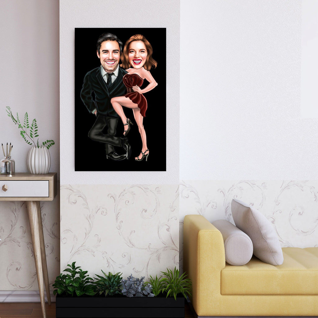 Personalized Caricature Couple Black Wooden Wall Art Custom Fairy