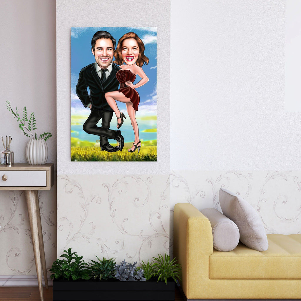 Personalized Caricature Couple Nature Wooden Wall Art Custom Fairy