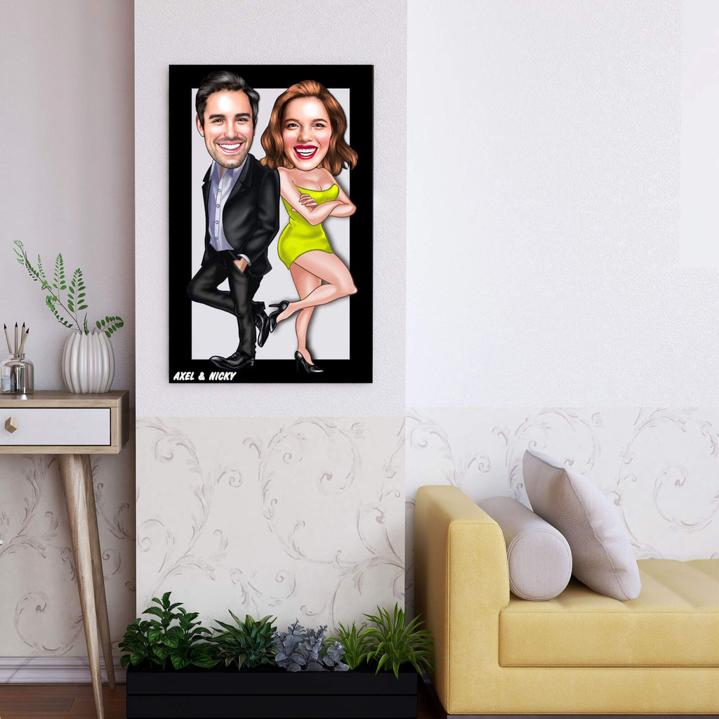 Personalized Caricature Couple Wooden Wall Art 7 Custom Fairy