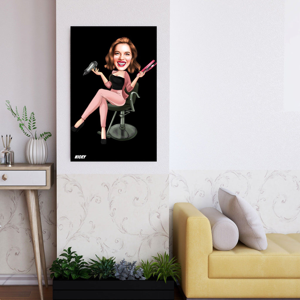 Personalized Caricature Hairdresser Wooden Wall Art 2 Custom Fairy