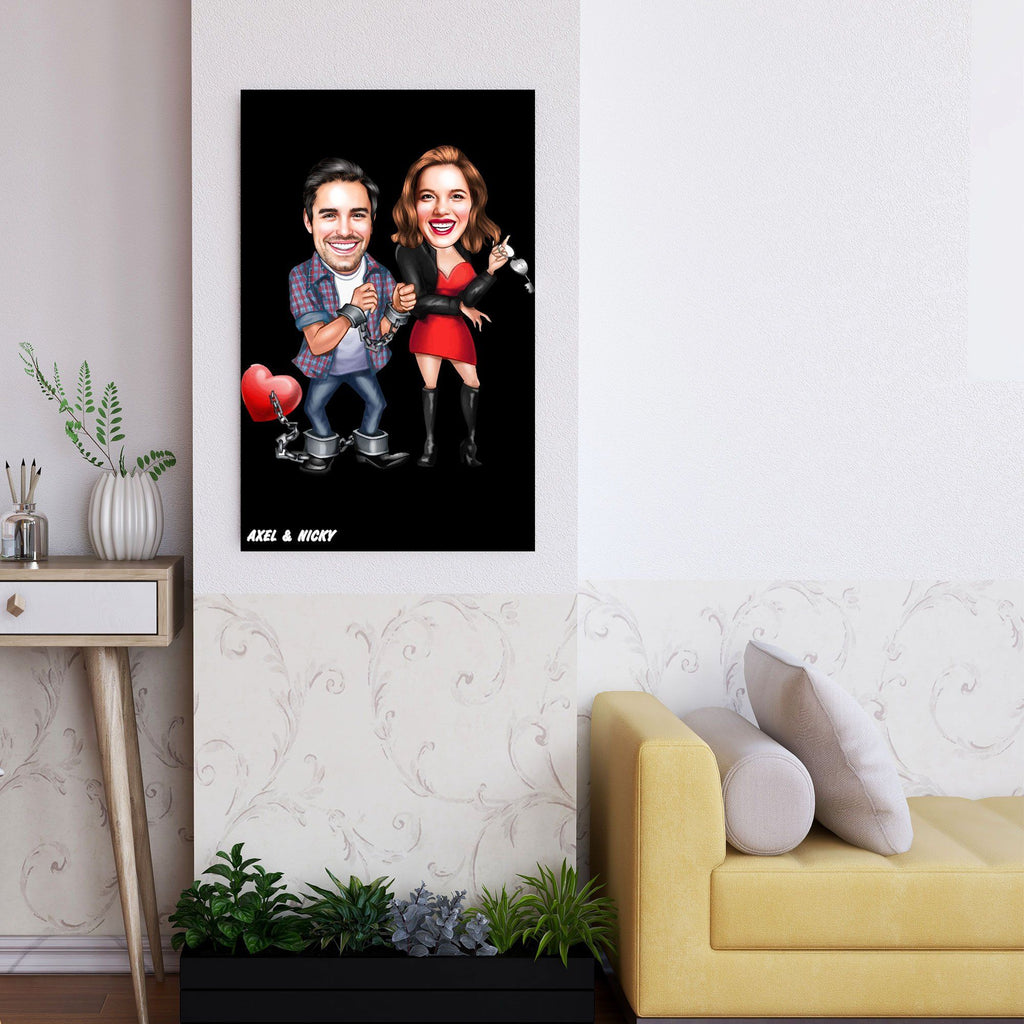 Personalized Caricature In Jail Couple Wooden Wall Art Custom Fairy