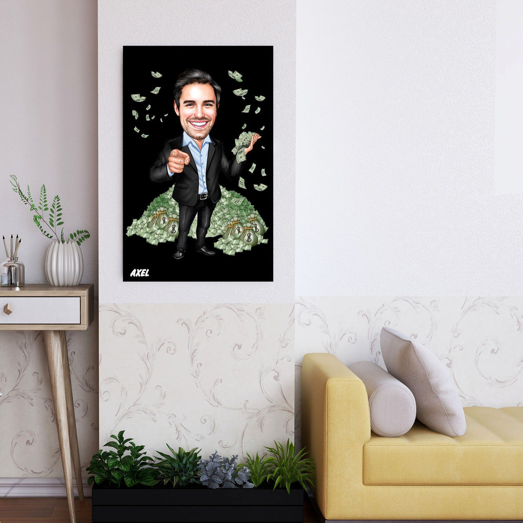 Personalized Caricature Millionaire Wooden Wall Art Custom Fairy