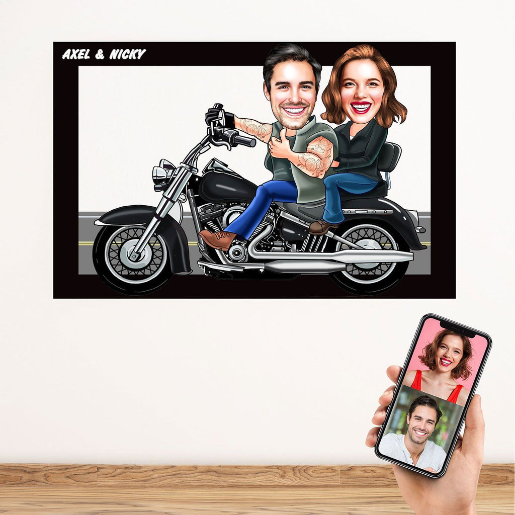 Personalized Cartoon Biker Couple Cut out Wooden Wall Art Wooden Wall Art Custom Fairy