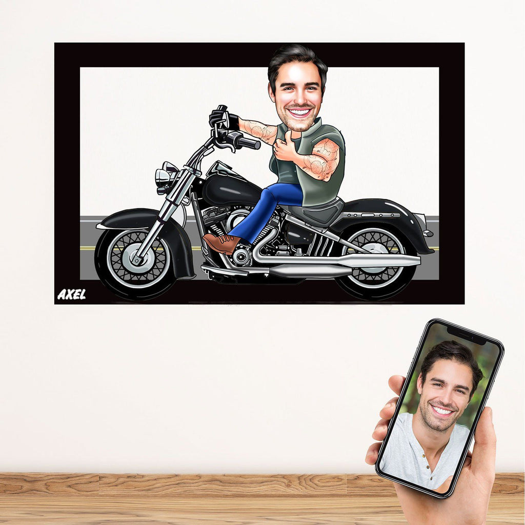 Personalized Cartoon Biker Man Wooden Wall Art Wooden Wall Art Custom Fairy