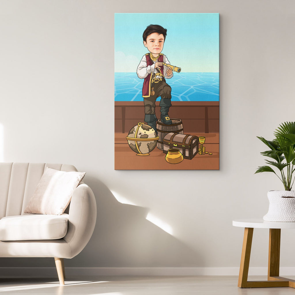 Personalized Cartoon Boy Pirate Canvas Canvas Wall Art 2 teelaunch