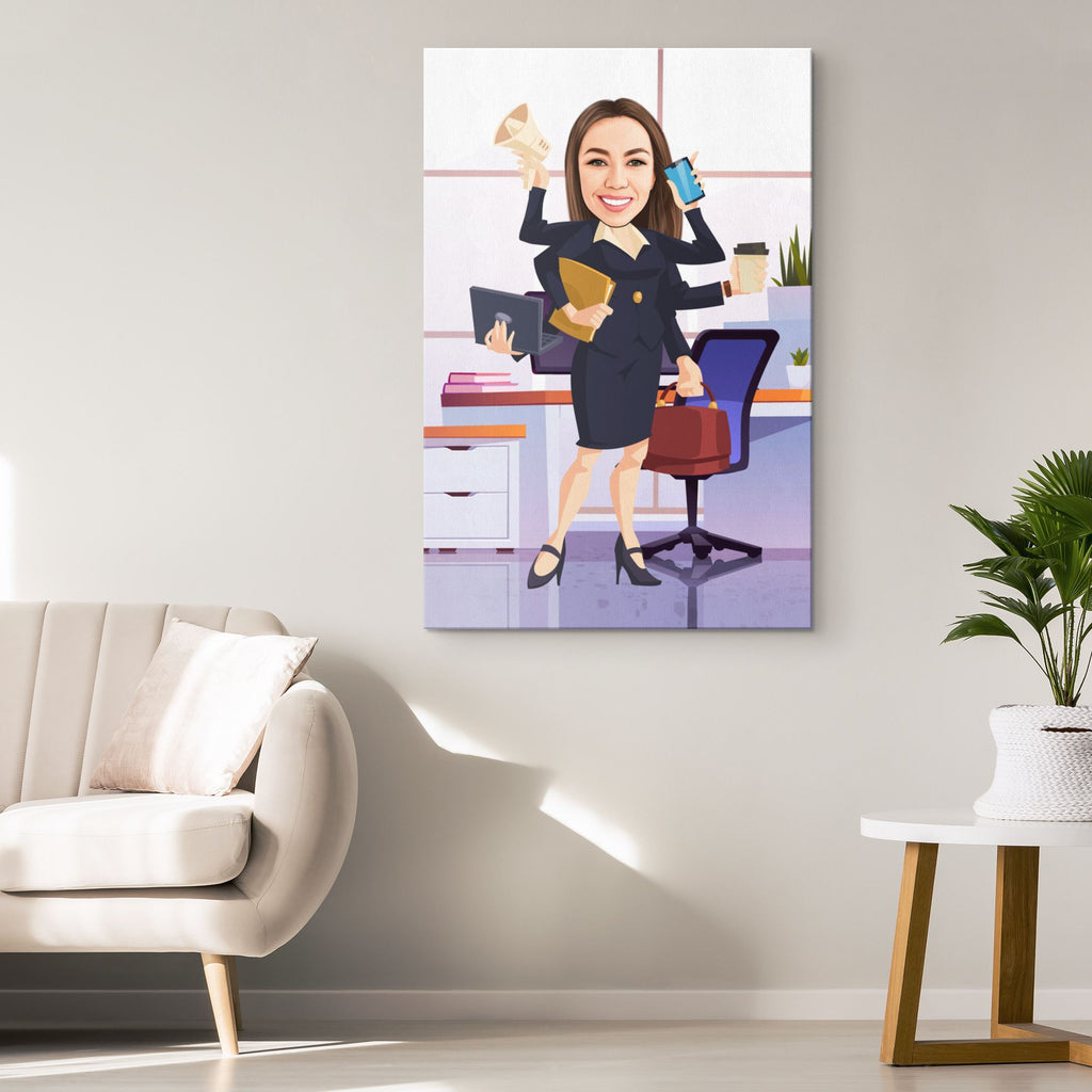 Personalized Cartoon Businesswoman Canvas Canvas Wall Art 2 teelaunch