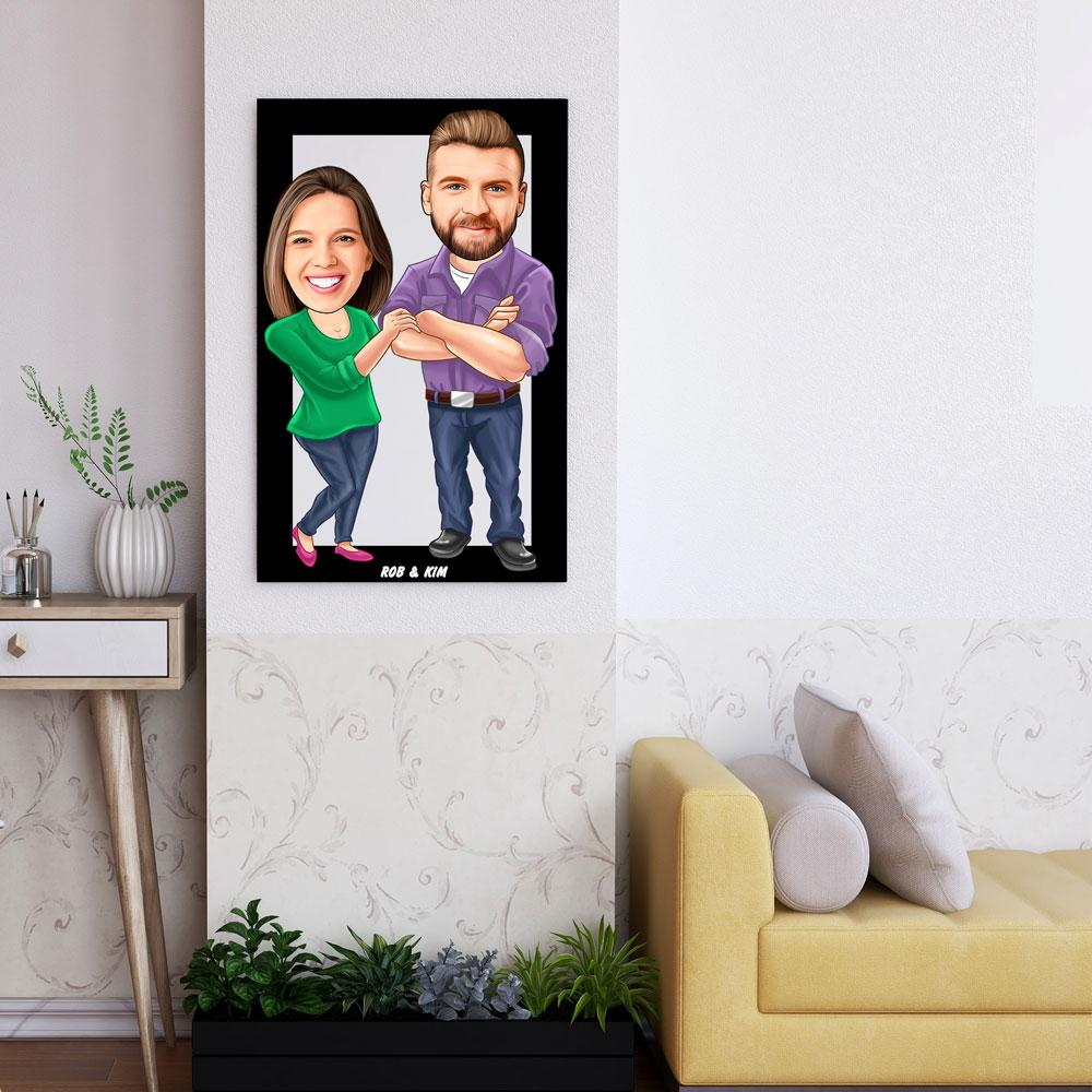 Personalized Cartoon Casual Couple Wooden Wall Art Custom Fairy