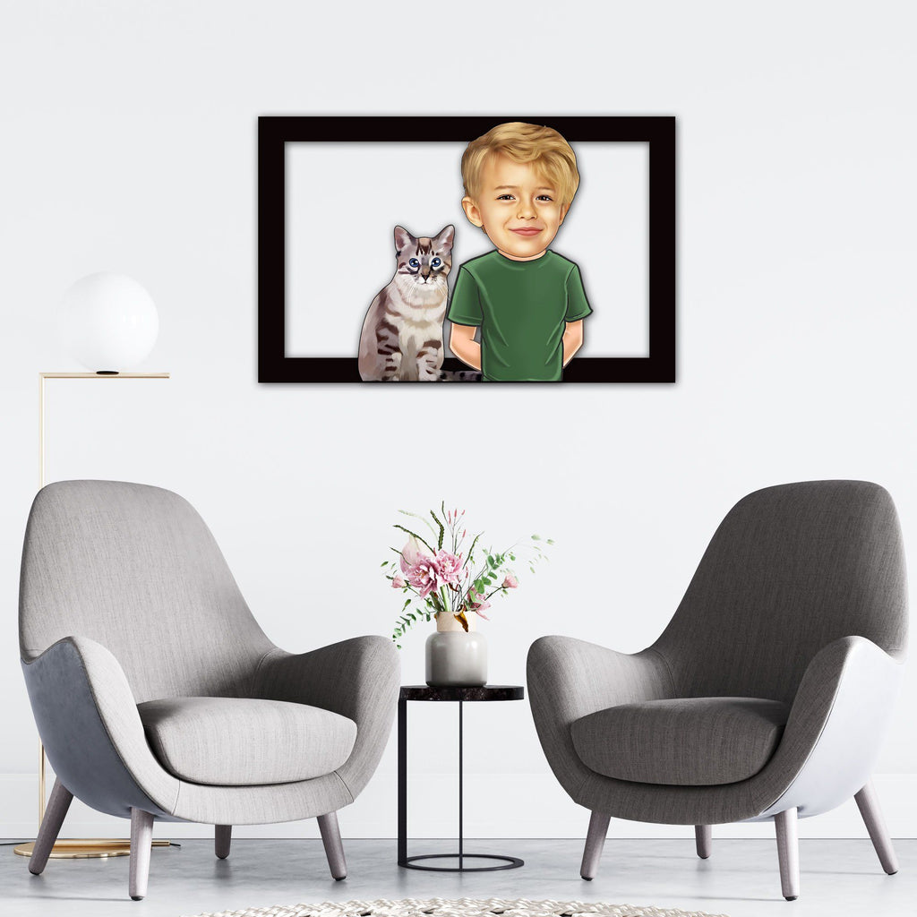 Personalized Cartoon Child & Cat Wooden Wall Art Custom Fairy