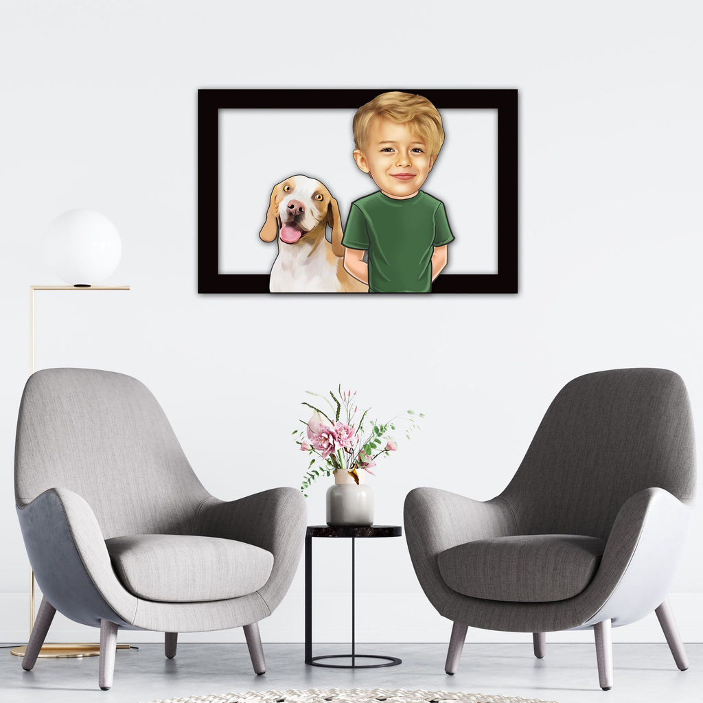 Personalized Cartoon Child & Dog Wooden Wall Art Custom Fairy