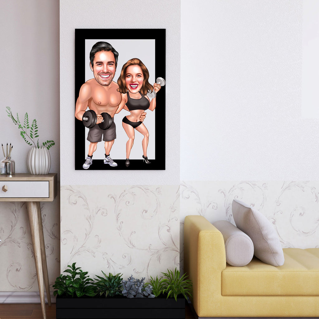 Personalized Cartoon Couple Bodybuilding Wooden Wall Art Custom Fairy