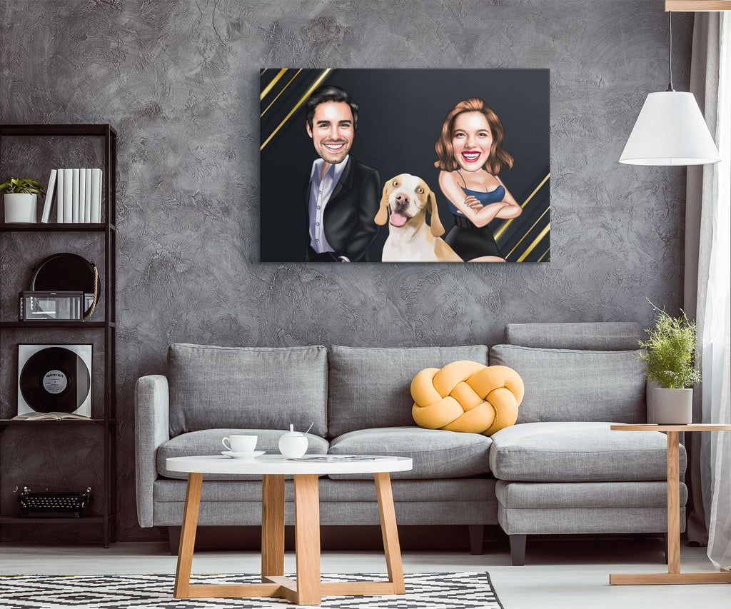 Personalized Cartoon Couple & Dog Canvas #2 Canvas Wall Art 2 teelaunch