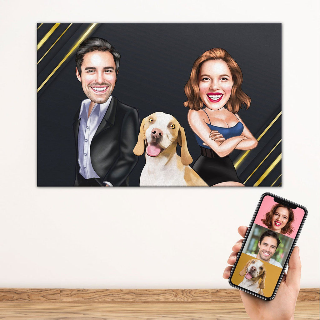 Personalized Cartoon Couple & Dog Canvas Black BG Canvas Wall Art 2 teelaunch