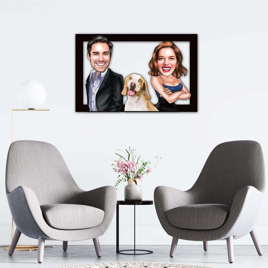 Personalized Cartoon Couple & Dog Wooden Wall Art Custom Fairy