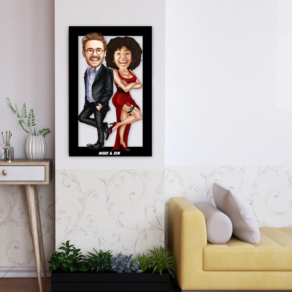 Personalized Cartoon Couple Wooden Wall Art ( Red Dress ) Wooden Wall Art Custom Fairy