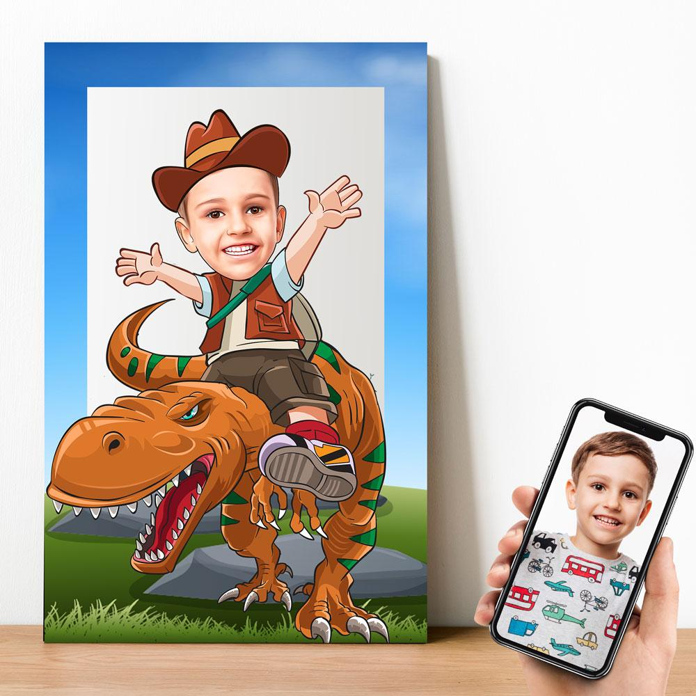 Personalized Cartoon Dinosaur Rider Wooden Wall Art Wooden Wall Art Custom Fairy