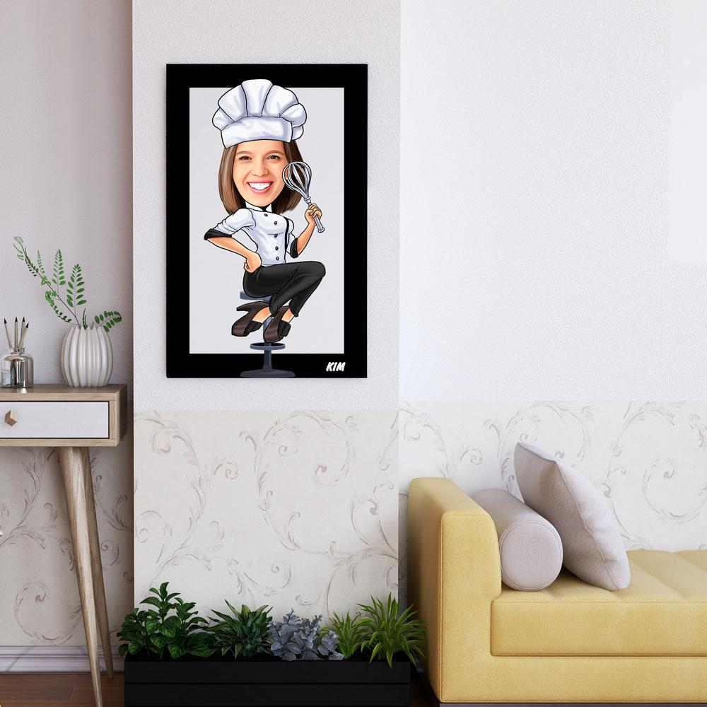 Personalized Cartoon Female Chef Wooden Wall Art Custom Fairy