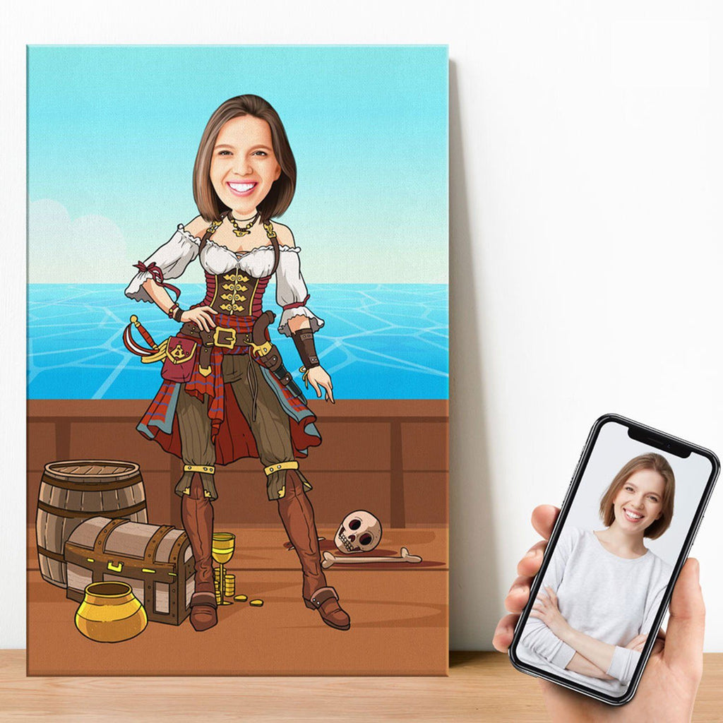 Personalized Cartoon Female Pirate Canvas Canvas Wall Art 2 teelaunch