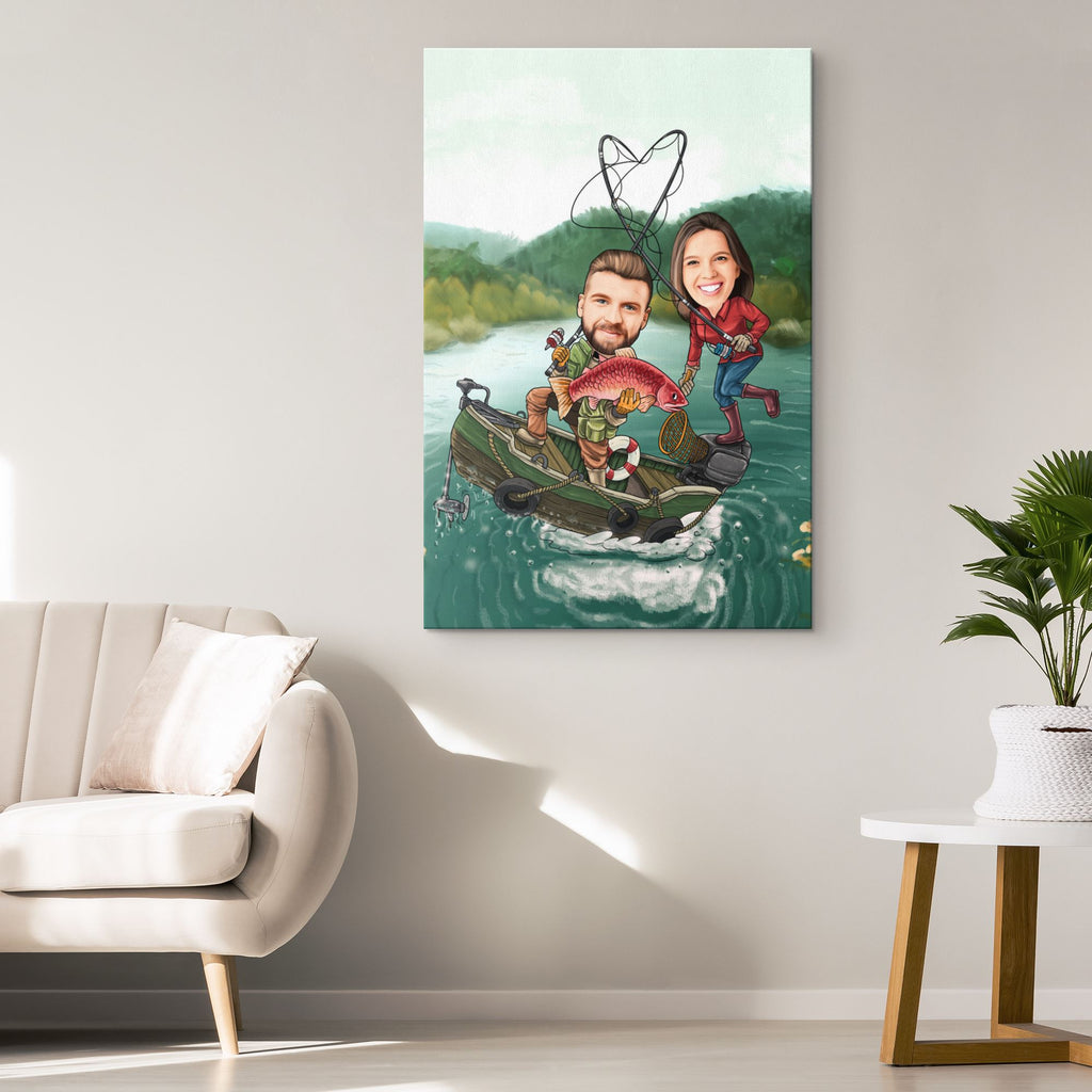 Personalized Cartoon Fishing Couple Canvas Canvas Wall Art 2 teelaunch