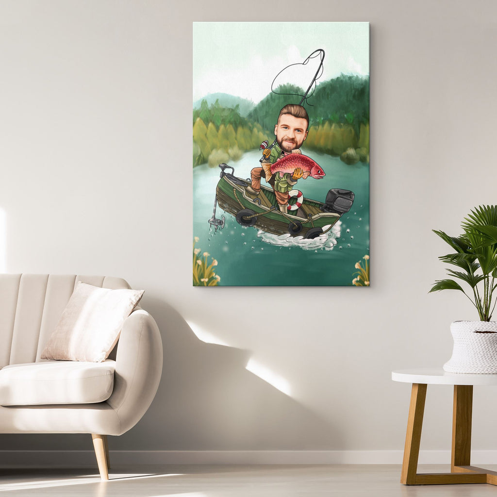 Personalized Cartoon Fishing Man Canvas Canvas Wall Art 2 teelaunch