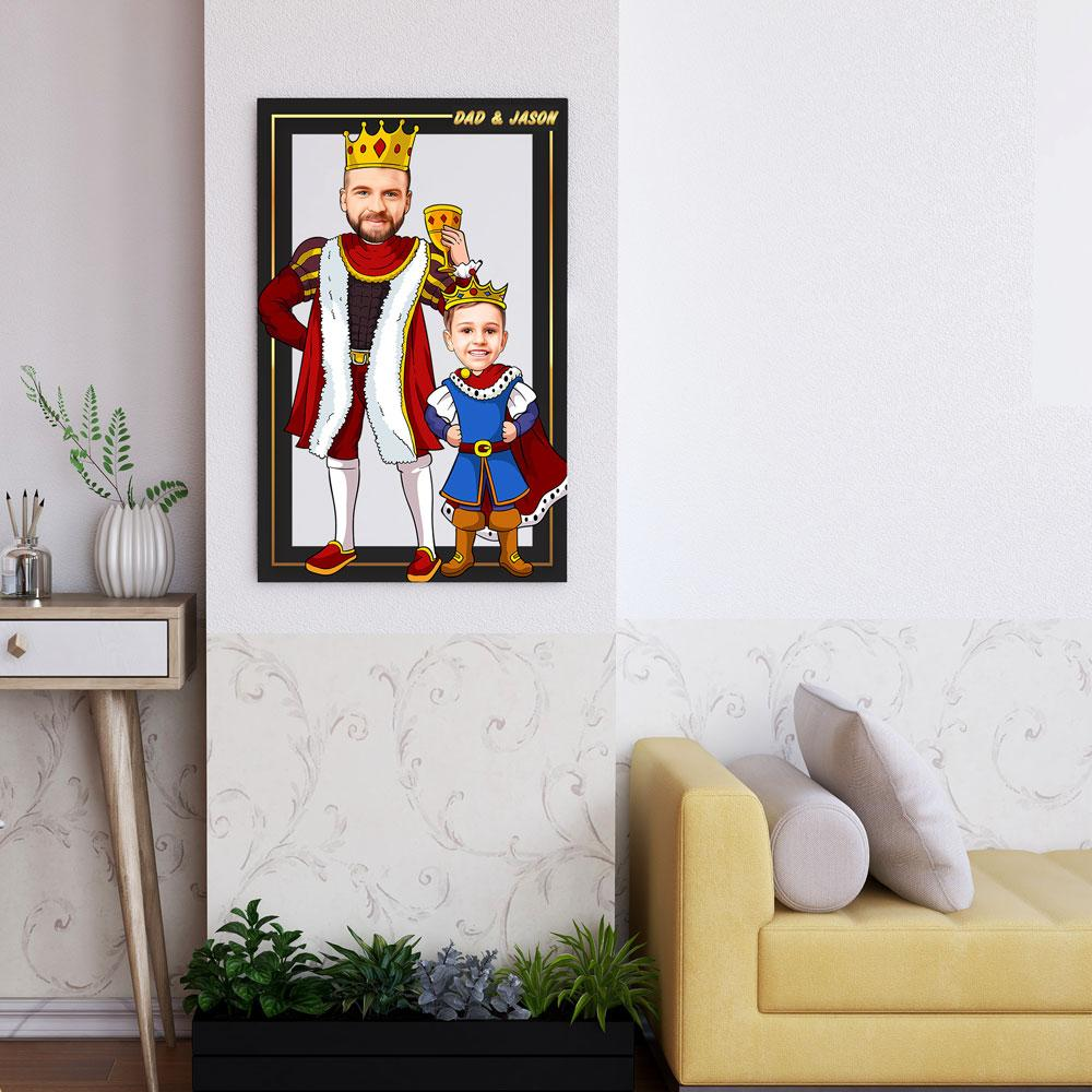 Personalized Cartoon King & Little Prince Wooden Wall Art Custom Fairy