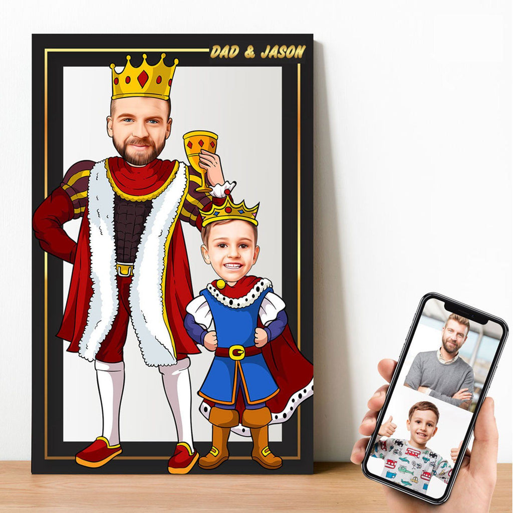 Personalized Cartoon King & Little Prince Wooden Wall Art Wooden Wall Art Custom Fairy