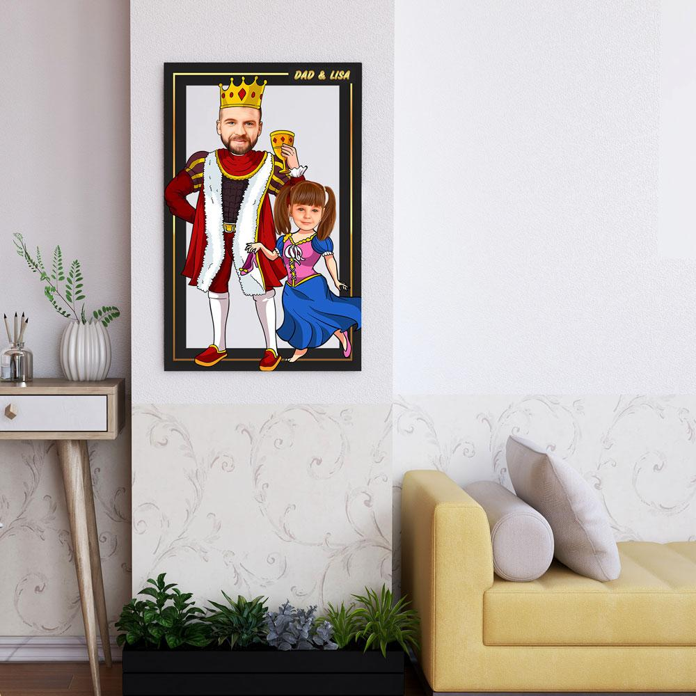 Personalized Cartoon King & Little Princess Wooden Wall Art Custom Fairy