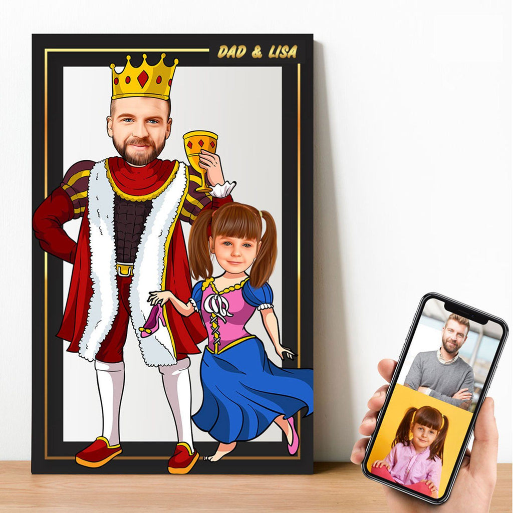 Personalized Cartoon King & Little Princess Wooden Wall Art Wooden Wall Art Custom Fairy