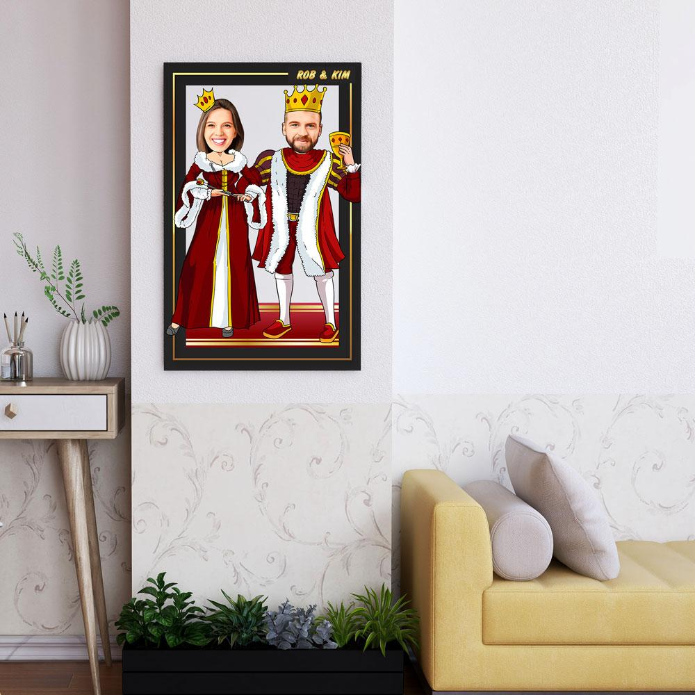 Personalized Cartoon King & Queen Wooden Wall Art Custom Fairy