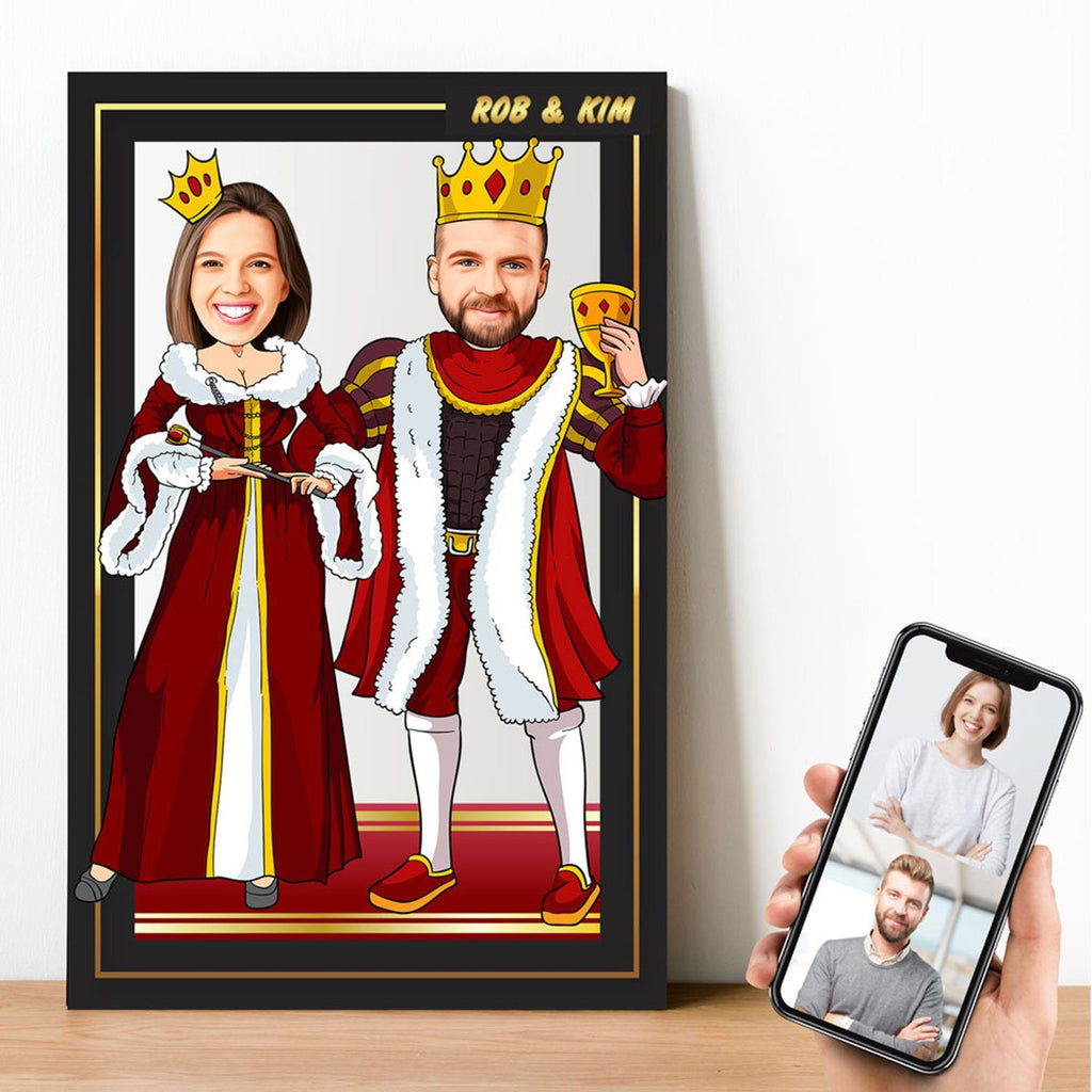 Personalized Cartoon King & Queen Wooden Wall Art Wooden Wall Art Custom Fairy