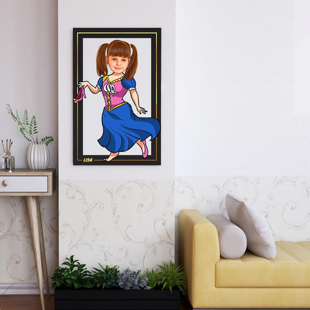 Personalized Cartoon Little Princess Wooden Wall Art Custom Fairy
