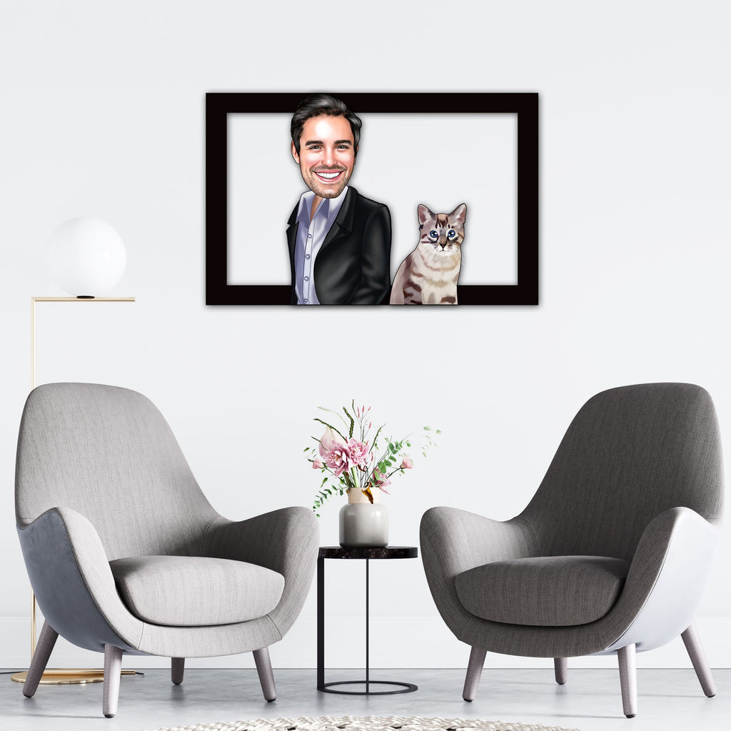 Personalized Cartoon Male & Cat Wooden Wall Art Custom Fairy