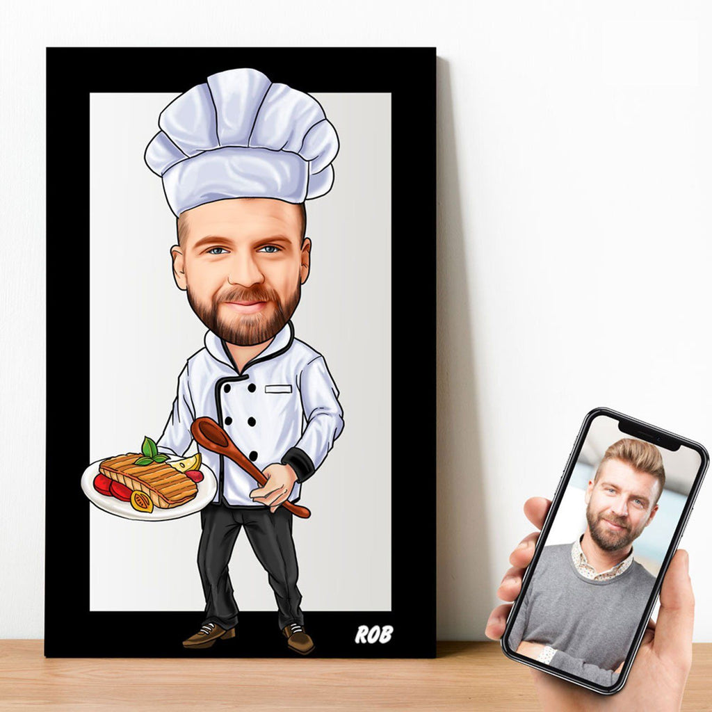 Personalized Cartoon Male Chef Wooden Wall Art Wooden Wall Art Custom Fairy