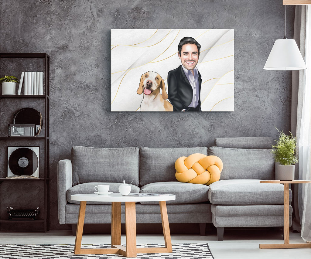 Personalized Cartoon Male & Dog Canvas #1 Canvas Wall Art 2 teelaunch