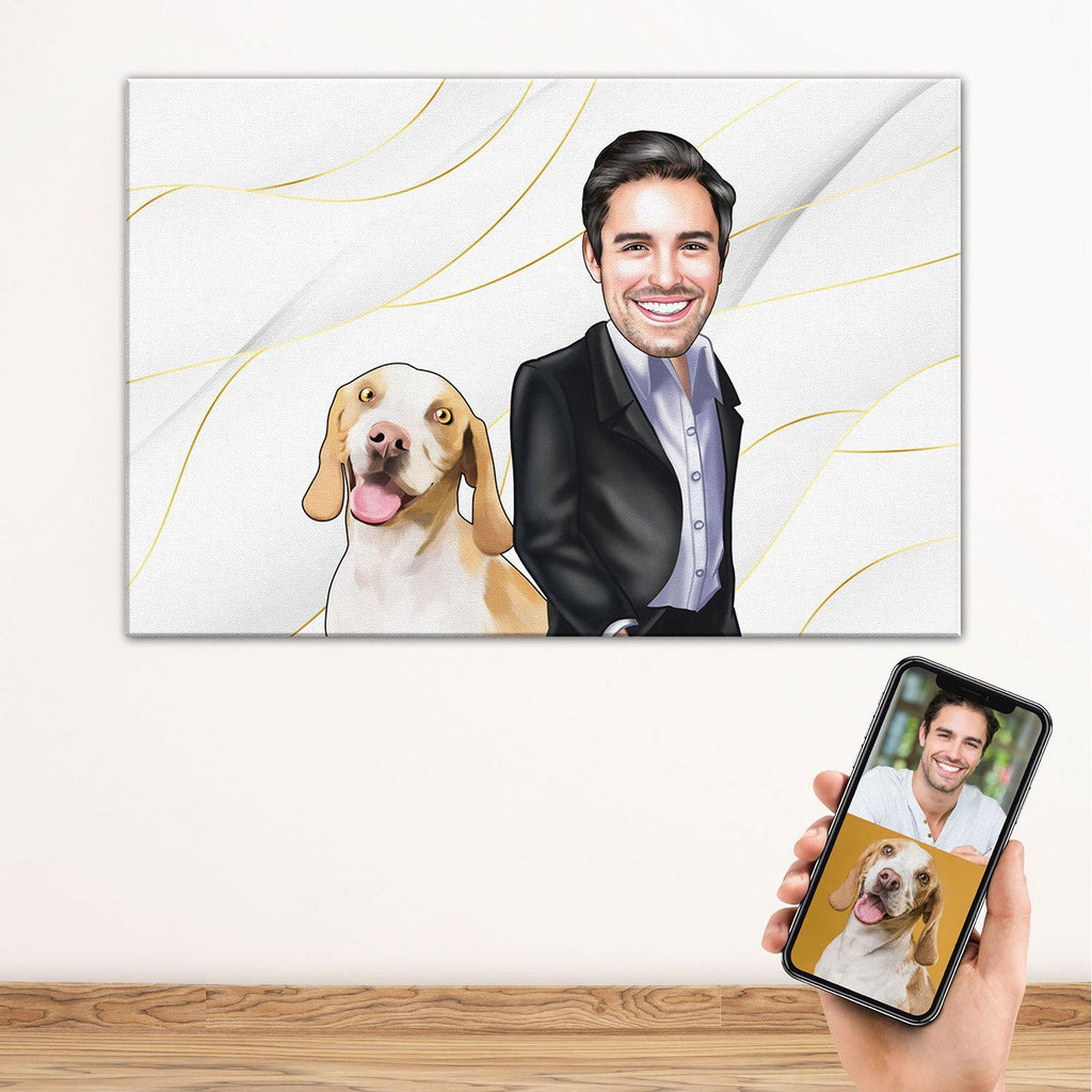 Personalized Cartoon Male & Dog Canvas White BG Canvas Wall Art 2 teelaunch