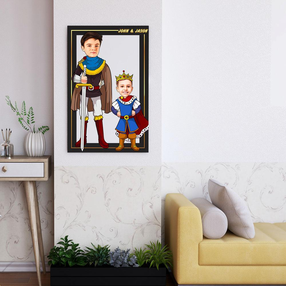 Personalized Cartoon Prince & Little Prince Wooden Wall Art Custom Fairy