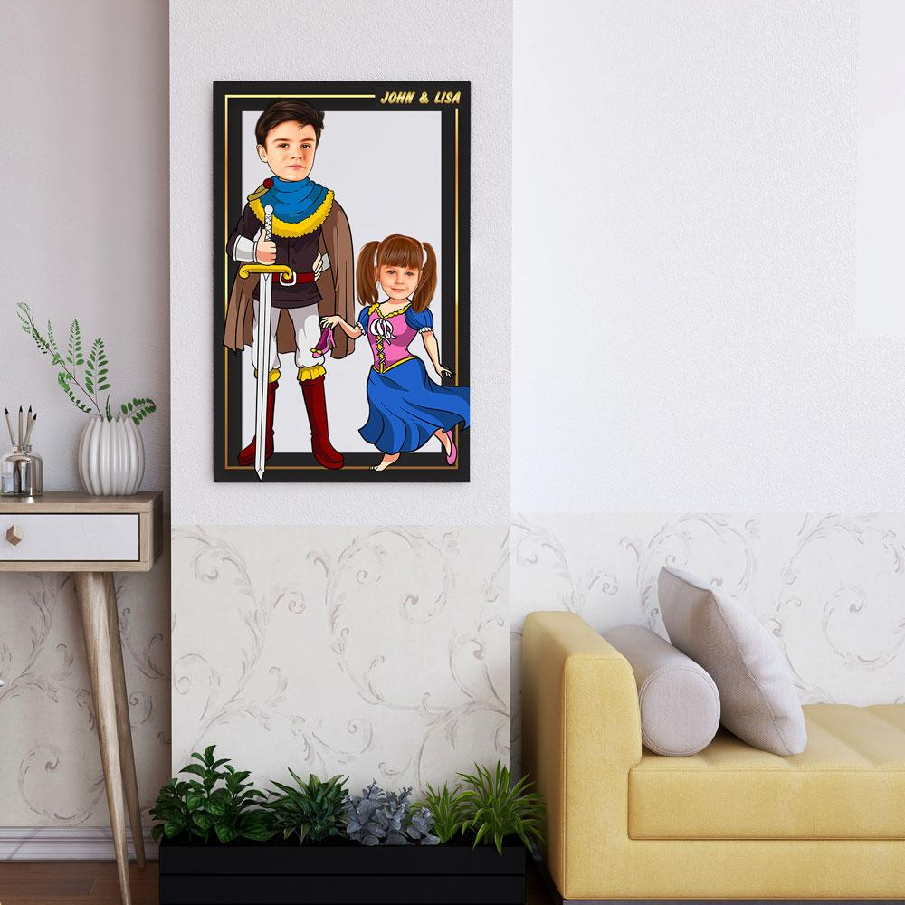 Personalized Cartoon Prince & Little Princess Wooden Wall Art Custom Fairy