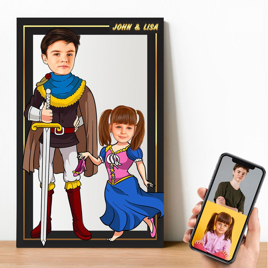 Personalized Cartoon Prince & Little Princess Wooden Wall Art Wooden Wall Art Custom Fairy
