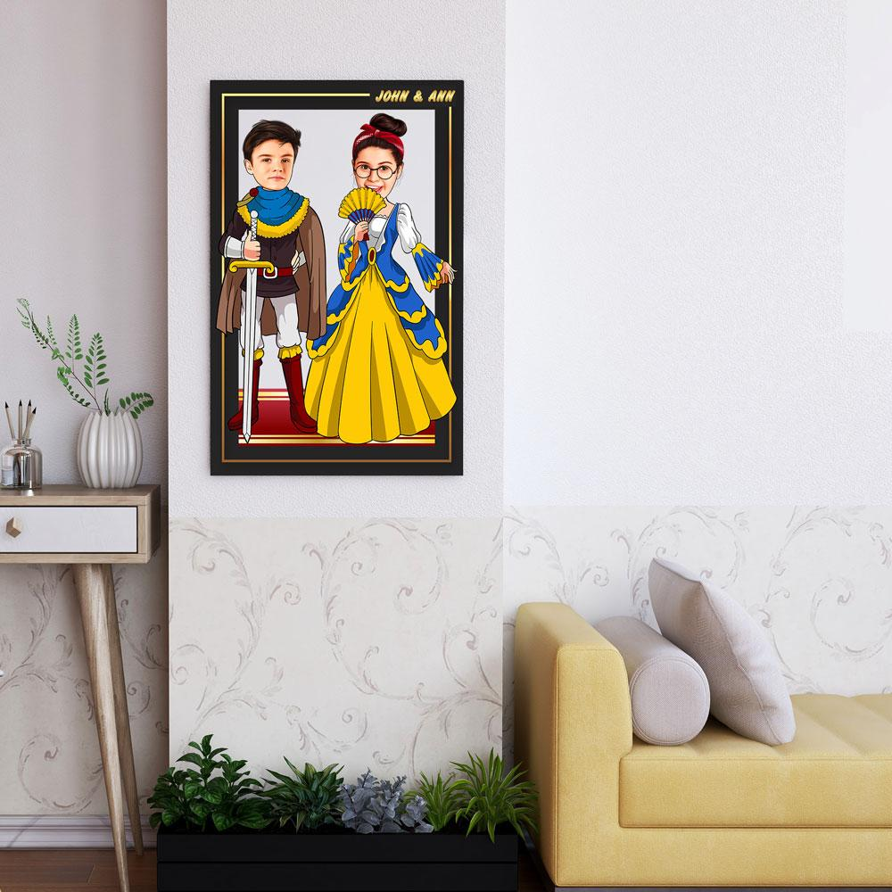 Personalized Cartoon Prince & Princess Wooden Wall Art Custom Fairy