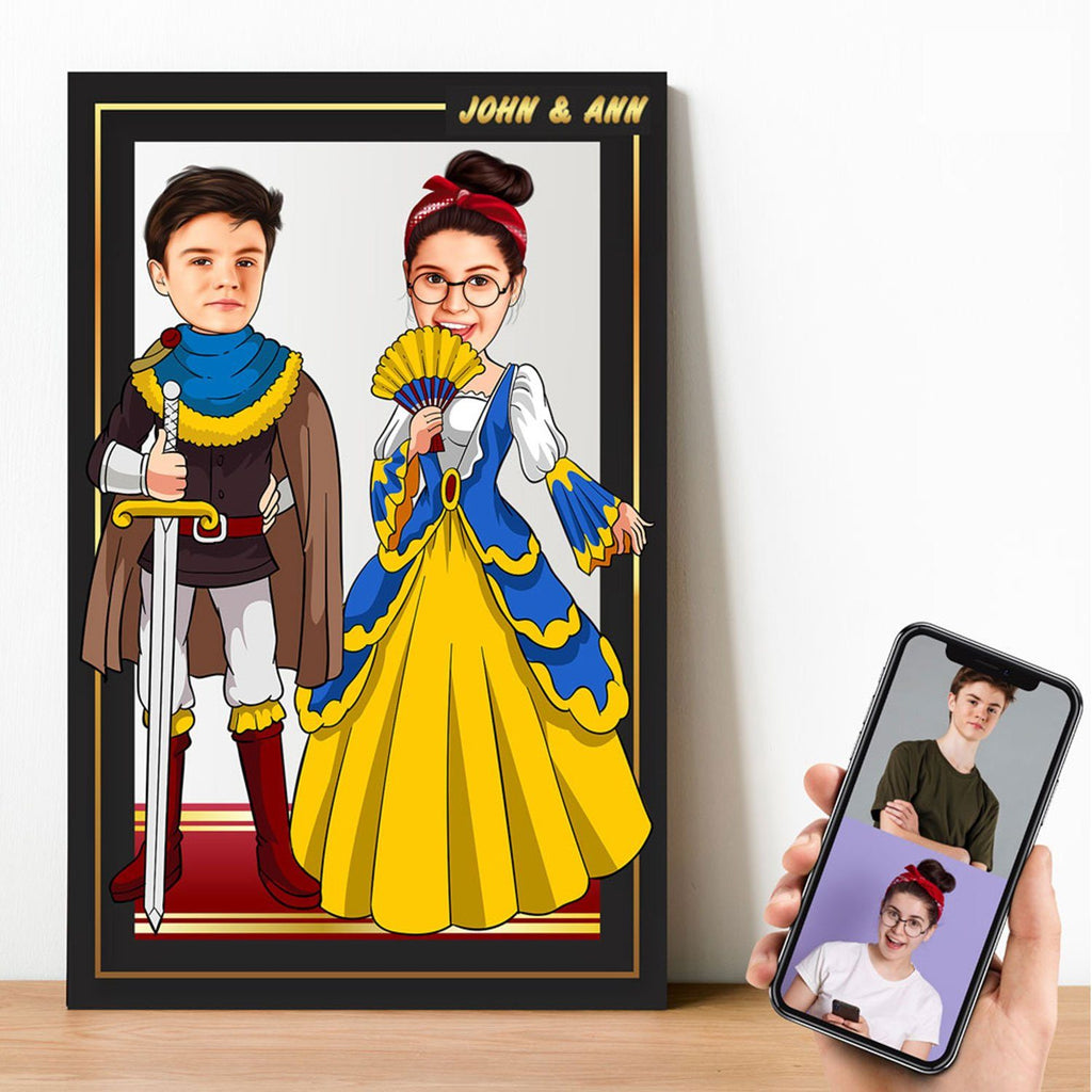 Personalized Cartoon Prince & Princess Wooden Wall Art Wooden Wall Art Custom Fairy