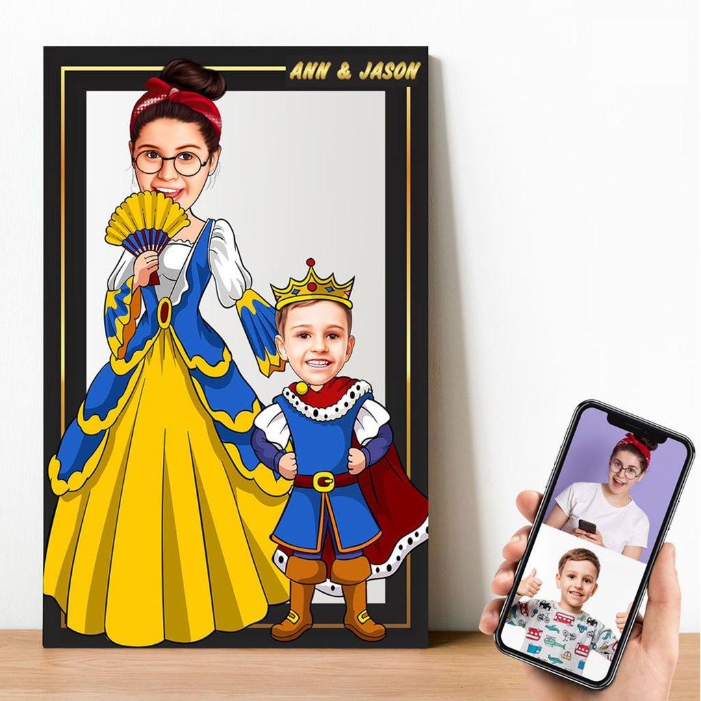 Personalized Cartoon Princess & Little Prince Wooden Wall Art Wooden Wall Art Custom Fairy