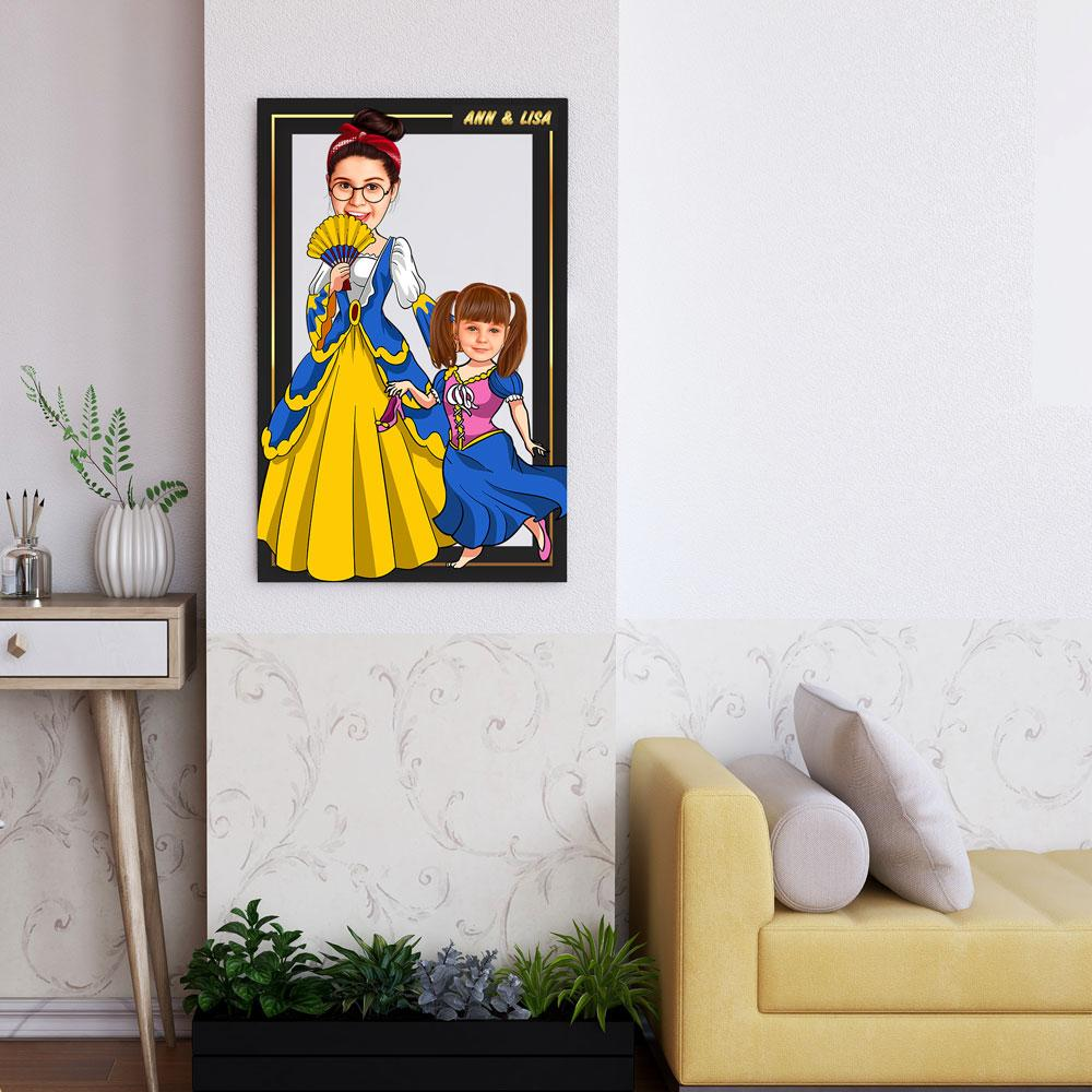 Personalized Cartoon Princess & Little Princess Wooden Wall Art Custom Fairy