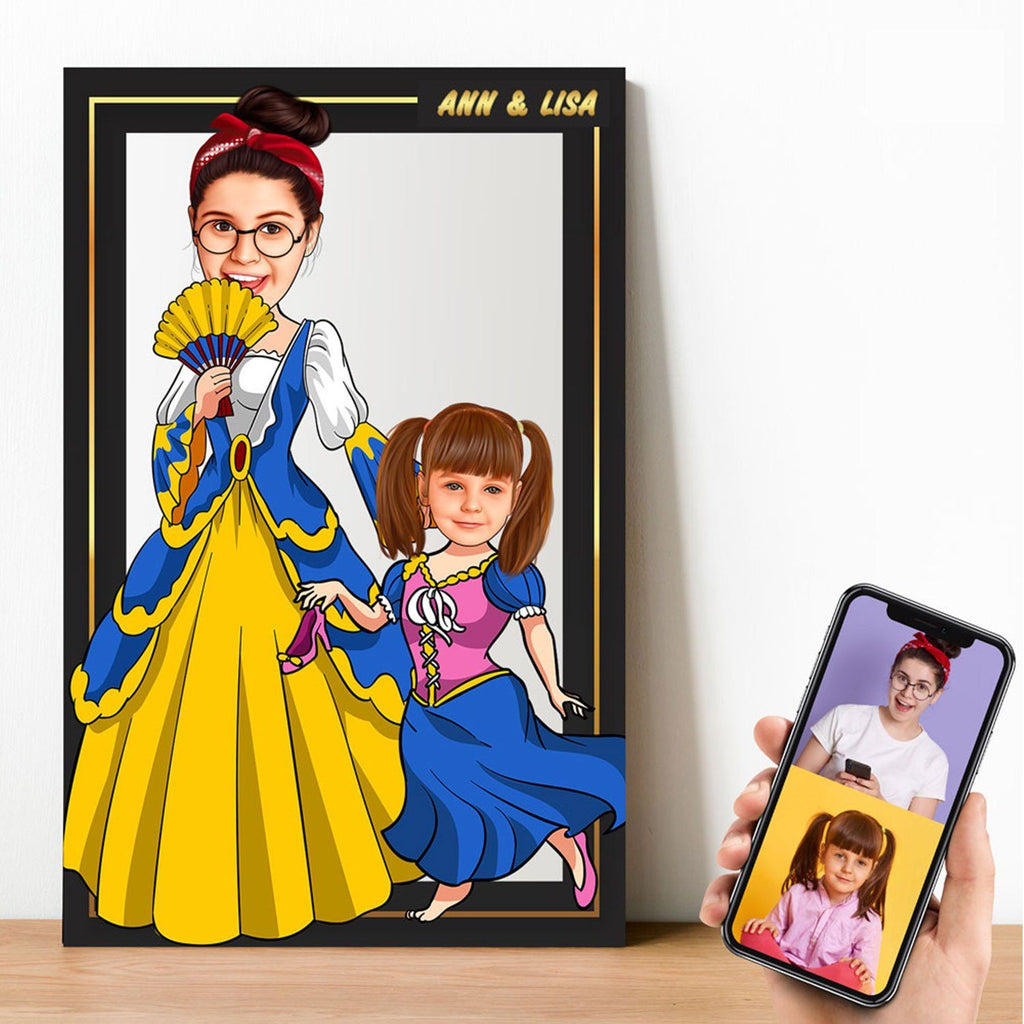 Personalized Cartoon Princess & Little Princess Wooden Wall Art Wooden Wall Art Custom Fairy